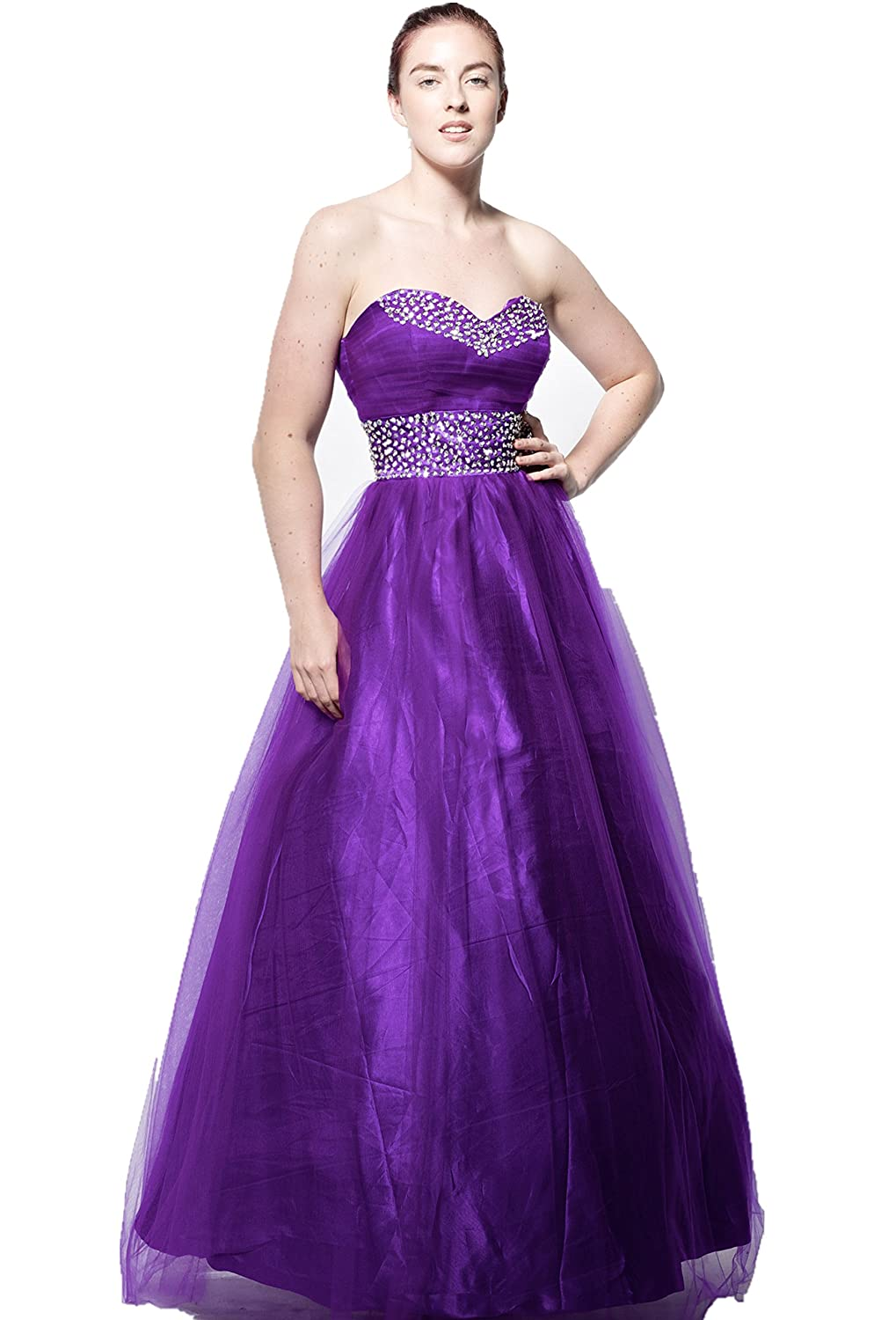 atopdress@YM5 satin BALL Evening prom sequined gown dress Cross design (8, Purple): Amazon.co.uk: Clothing