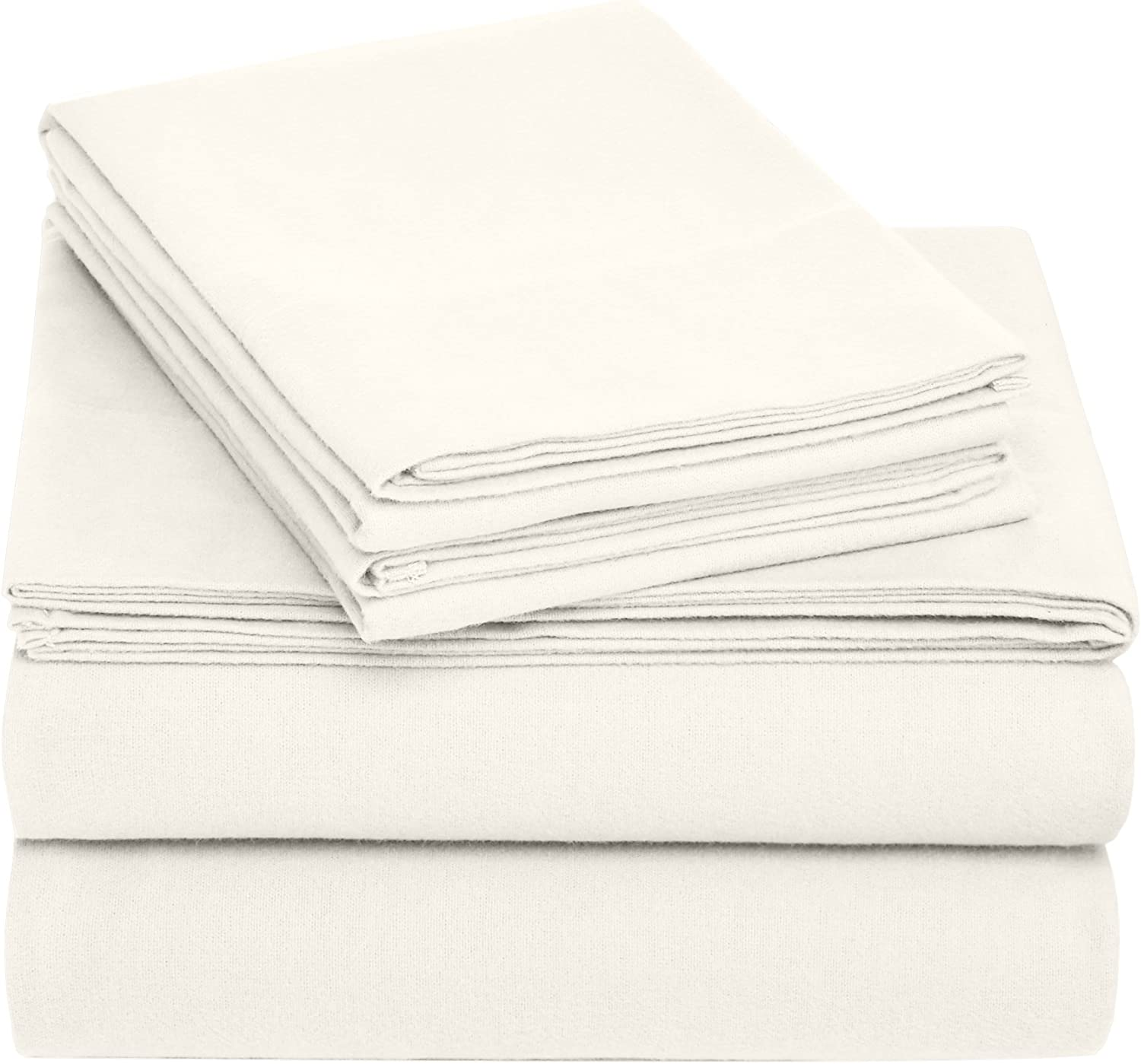 Pinzon Cotton Flannel Bed Sheet Set - Queen, Cream