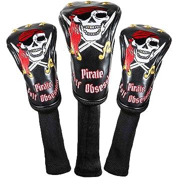 Juego de 3 fundas para palos de golf de estilo pirata. Disponibles para palos driver, de calle e híbridos