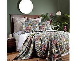 LOOPUINHOM Floral Quilt Set, 100% Microfiber 3 Pieces Reversible King Quilt Set, Floral Pattern Bedspread, Lightweight, Comfo