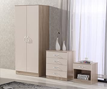 Sensational Fairpak Gladini High Gloss 3 Piece Bedroom Furniture Set Includes Wardrobe 4 Drawer Chest Bedside Cabinet Cream Oak Interior Design Ideas Pimpapslepicentreinfo