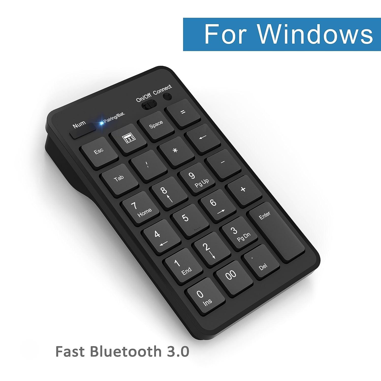 Bluetooth Wireless Keypad, Cateck 23 Key Wireless Numeric Keypad Bluetooth Numeric Keyboard For Laptop Desktop Computer Pc, Black by Amazon