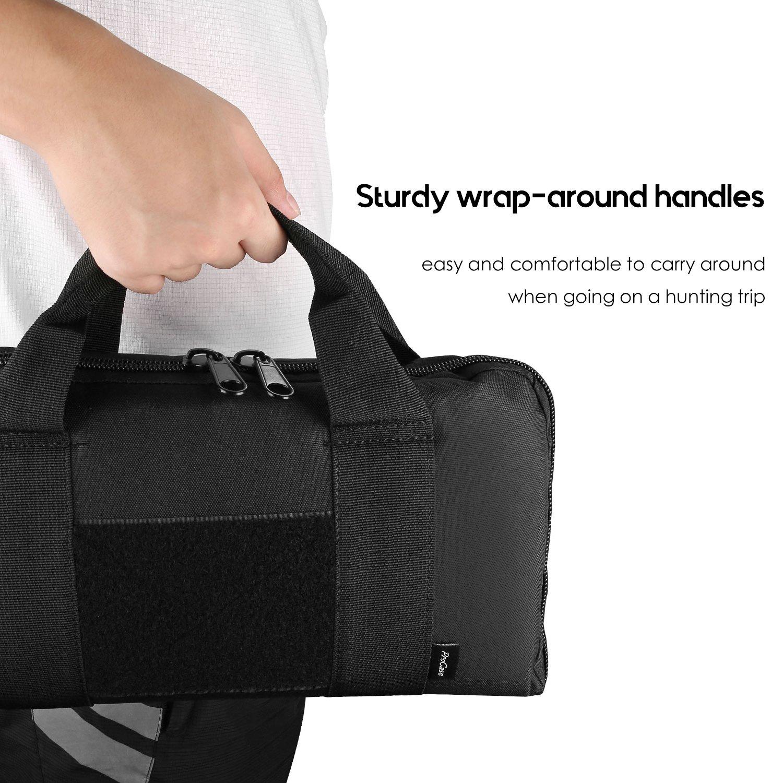 ProCase Tactical Pistol Case, Soft Shooting Gun Range Bag Handgun Magazine Pouch Duffle Bag for Hunting or Shooting Range Sport- Black by ProCase (Image #5)