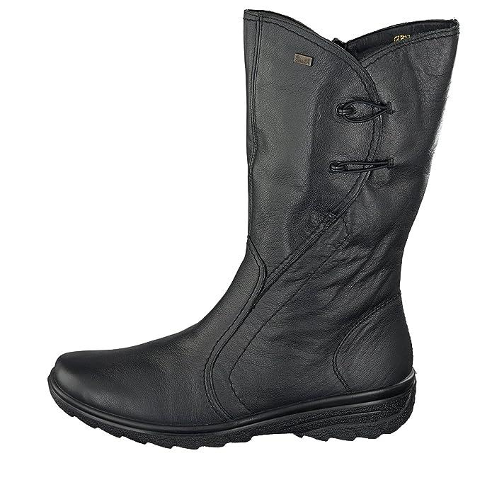 Rieker Damen Schuhe Stiefel Schwarz Lammfell mit Gummizug Zabxc