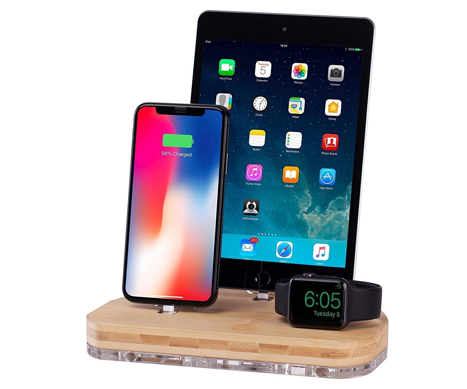 Multi Devices I iPhone Docking Station I Charging Stand I Tablet Holder Compatible with iPhone XR,Xs,X,8,7,6.Apple Watch Series 3,4,5 iPad Mini AirPro10.5 & Airpods Pre-Installed USB Cables