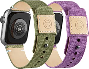 Compatible with Apple Watch Bands 42mm 44mm, Soft Cloth Fabric iWatch Bands Women Men Canvas with Genuine Leather Lining and Snap Button Straps for Apple Watch Series 6/5/4/3/2/1/SE,Lavender, Green