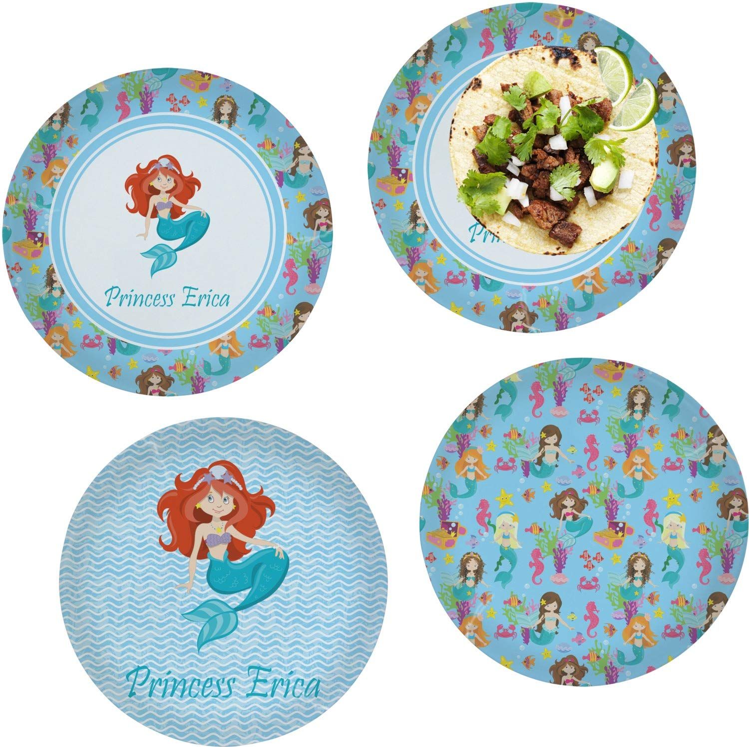 Mermaids Set of 4 Glass Lunch/Dinner Plate 10'' (Personalized)
