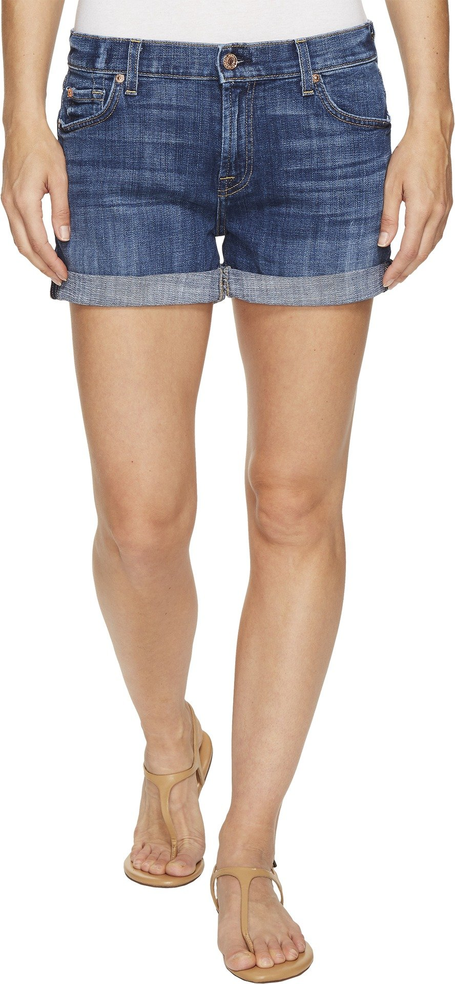 7 For All Mankind Women's Relaxed Mid Roll Shorts, Barrier Reef Broken Twill, 27