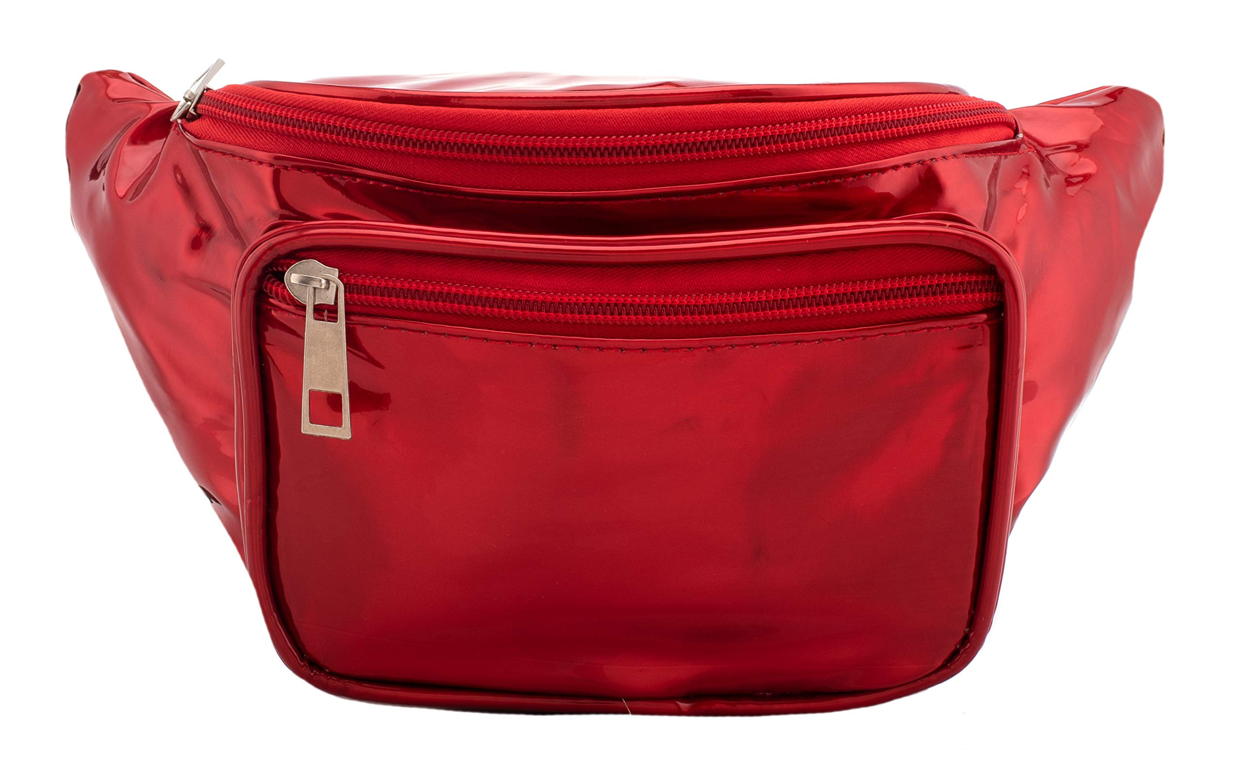 Holographic Fanny Pack for Women - Shiny Holographic Festival Phanny Bum Packs - Red
