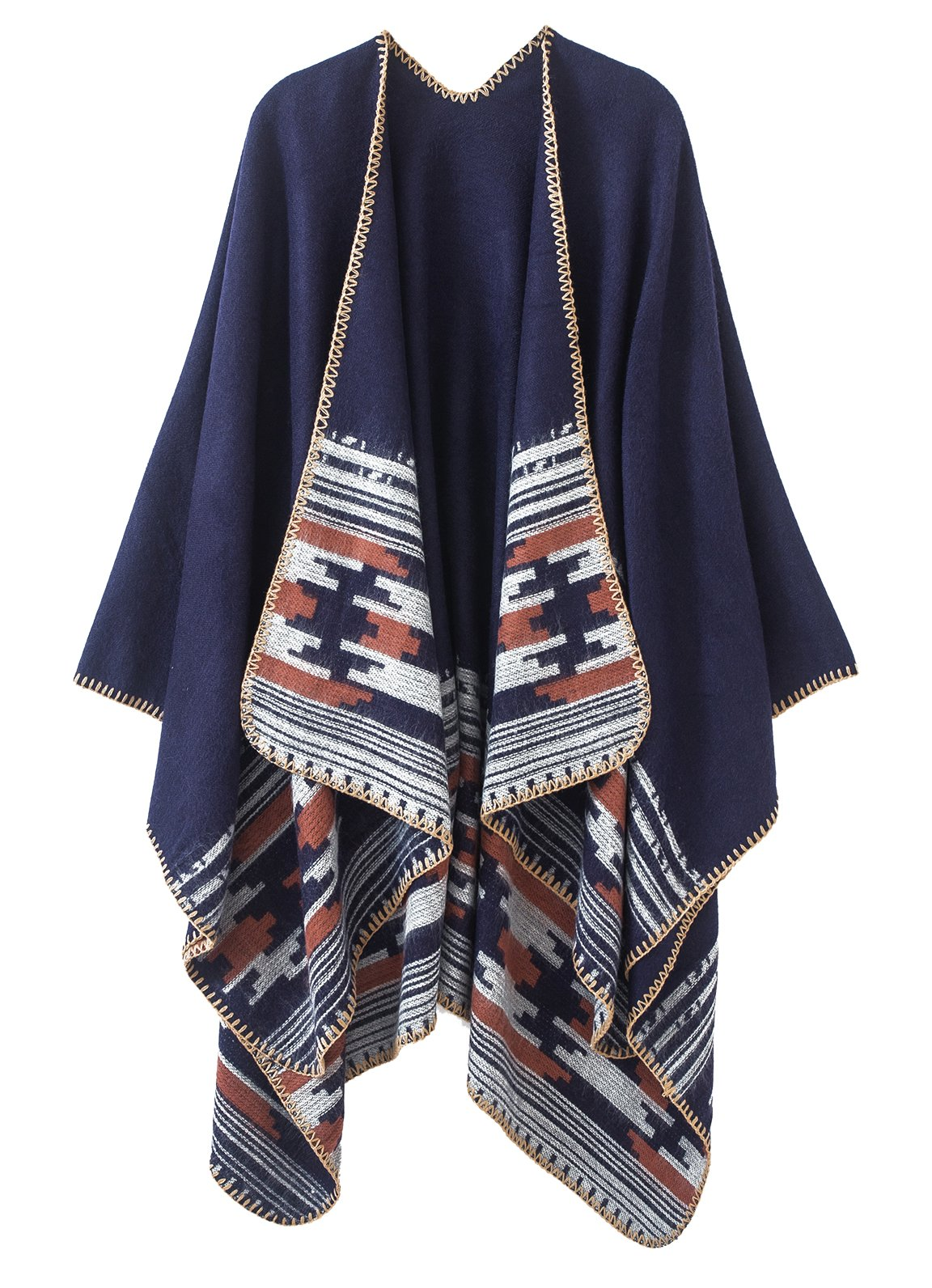 Urban CoCo Women's Color Block Shawl Wrap Open Front Poncho Cape (Series 6-Navy)