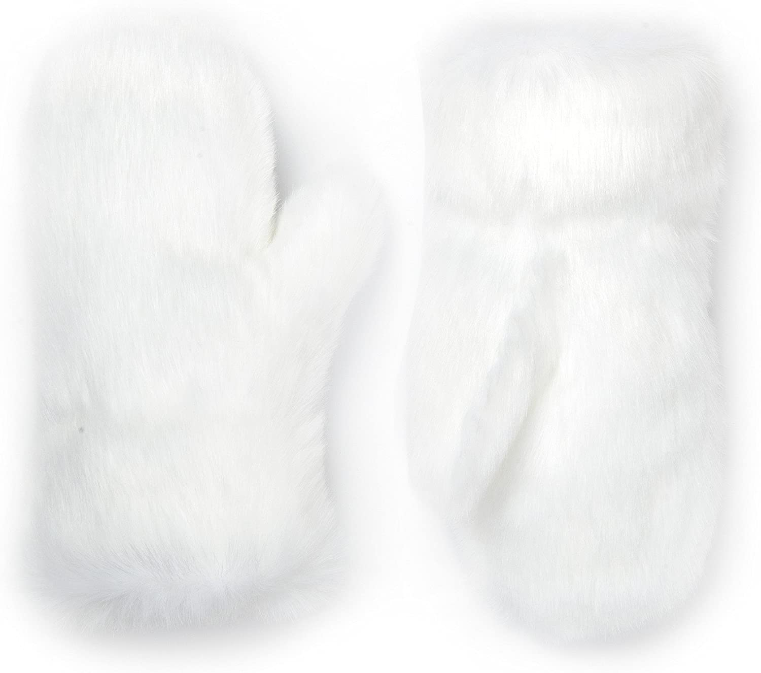 Futrzane Faux Fur Winter Gloves for Women - Rabbit Fur Lined Natural Mittens (White) at  Women's Clothing store