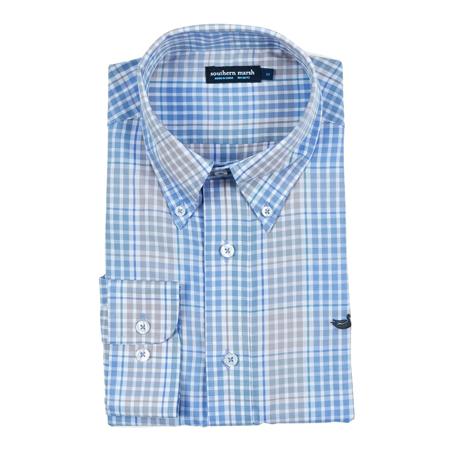 Burnt Taupe//Lilac Southern Marsh Miller Gingham Shirt Small