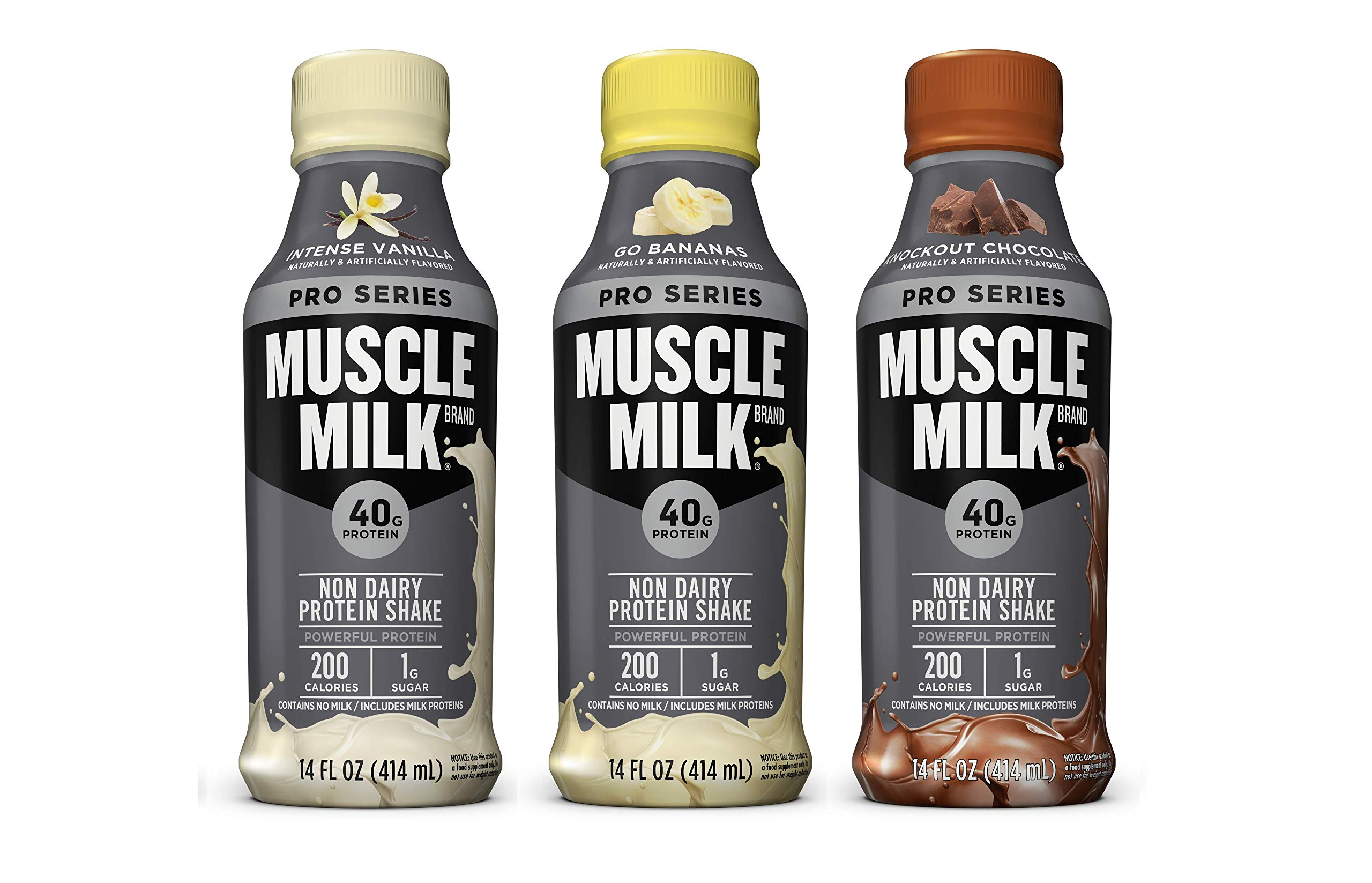 Muscle Milk Pro Series Non Dairy Protein Shake, 3 Flavor Variety Pack, 40g Protein, 14 FL OZ (Pack of 12)