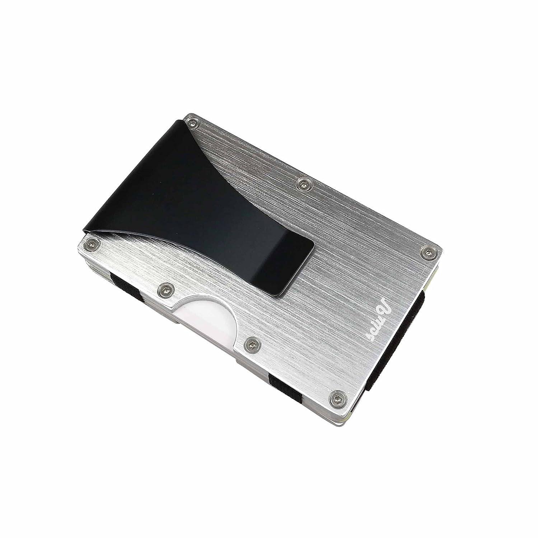 sciuU Porta Carte di Credito, Cusotdia Case Prottetiva con Clip in Acciaio Inox & Lega di Alluminio, RFID Blocco, per Uomini e Donne, Argento