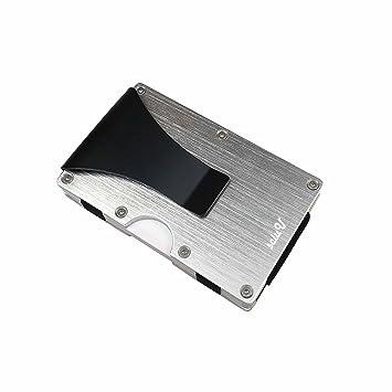 sciuU Cartera Tarjeta de Crédito, Cartera de Aleación de Aluminio & Acero Inoxidable Multiuso Bolsillos, Bloqueo RFID, Plata
