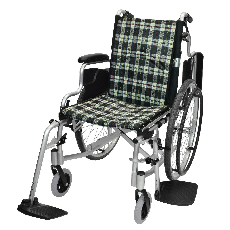 ケアテックジャパン 自走式 アルミ製 折りたたみ 車椅子 コンフォート CAH-50SU (チェックBB) B06ZYHP2ZF チェックBB チェックBB