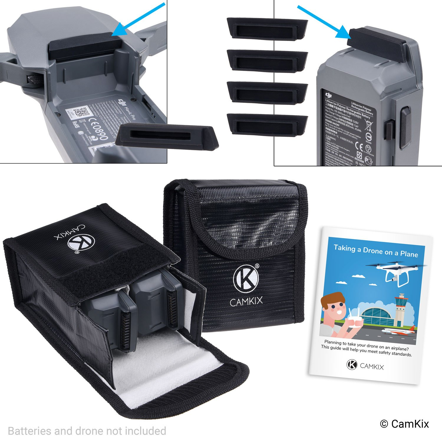 Charge Port Cover and Travel Instructions 4x Battery Port Cover Includes: 2x LiPo Safety Bag CamKix Travel Safety Pack compatible with DJI Mavic Pro//Platinum For 4 Batteries