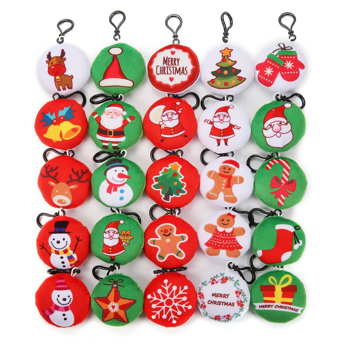 KINGSO Mini Emoji Plush Pillow Emoticon Keychain Decoration Kids Party Supplies Favors (Christmas emoji)
