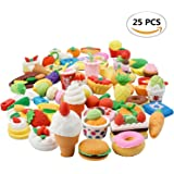 25PCS Japanese Style Food Eraser Assorted Sweet Removable Puzzle Toys Earsers For Kids(25 different Style randomly selected from as shown in the picture)
