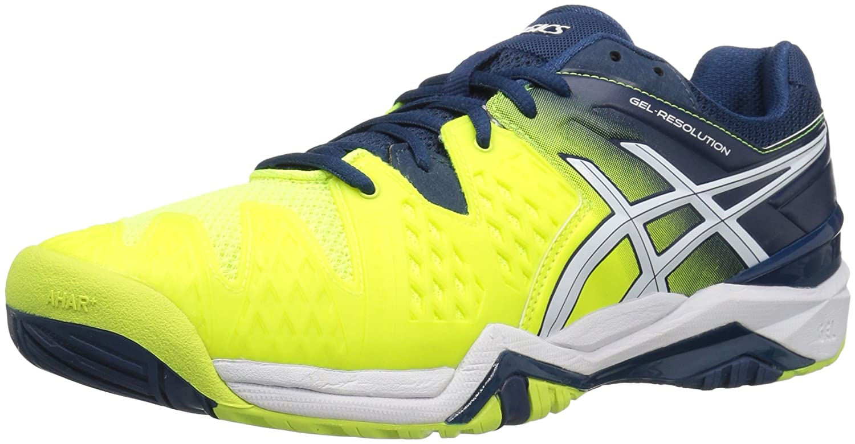 ASICS Men's GEL-Resolution 6 Tennis Shoe B0182M444K 7.5 D(M) US|Safety Yellow/White/Poseidon