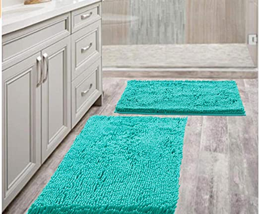 Amazon Com Bathroom Rugs Mat 20 X 30 Set Of 2 Turquoise Luxury Chenille Bath Mat Super Absorbent Bath Rug Machine Washable Perfect Plush Carpet For Shower Bath Room Bedroom And Kitchen 20