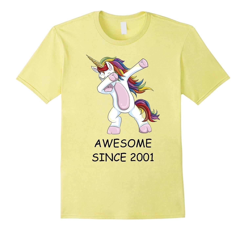 Awesome Since 2001 - Dabbing Unicorn 16th Birthday T-Shirt-FL