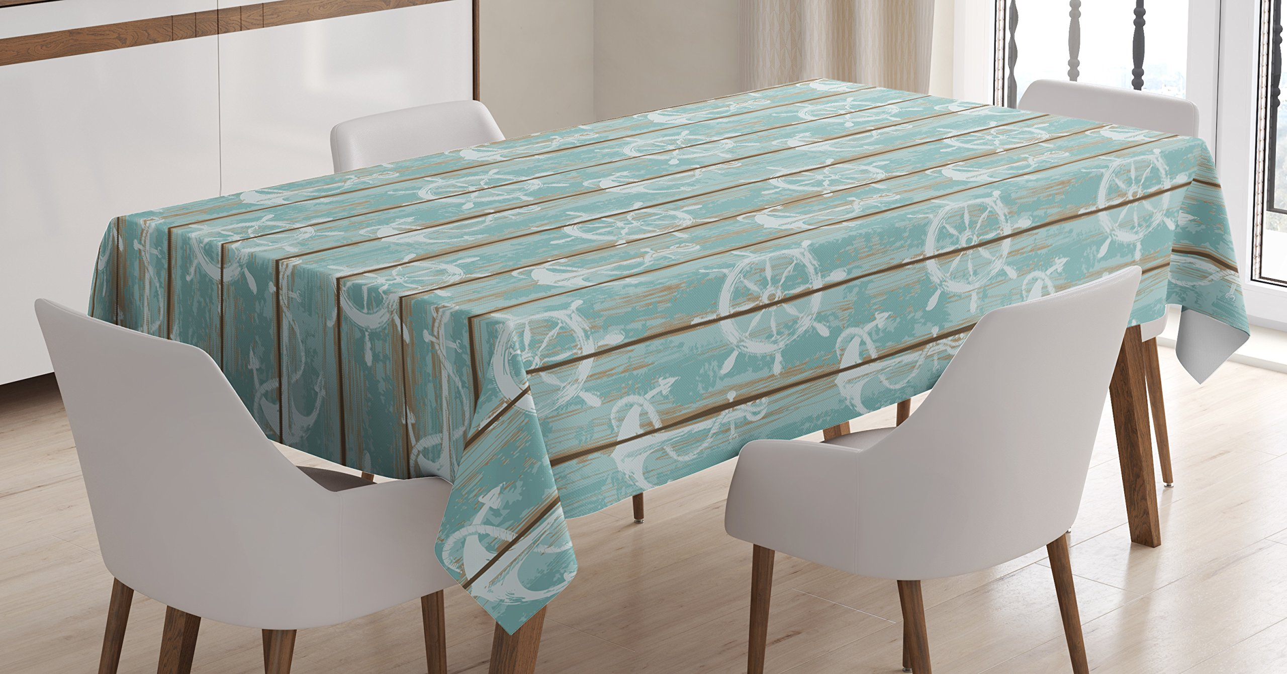 Ambesonne Nautical Tablecloth, Marine Elements Drawn on Old Wood Surface Helm Anchor Ornamental Print, Dining Room Kitchen Rectangular Table Cover, 60 W X 90 L inches, Turquoise Cocoa White