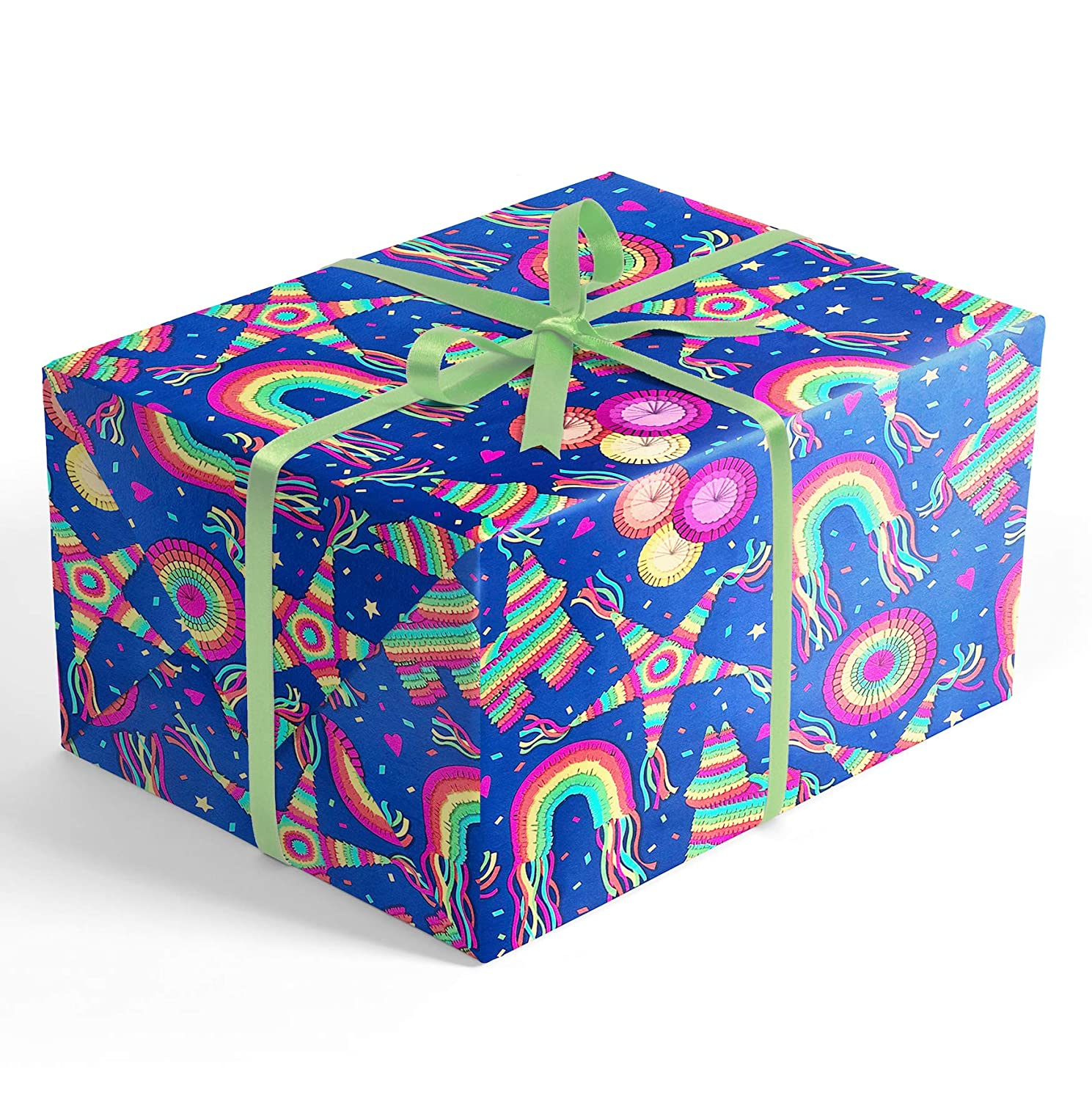 Piñata Fiesta Feliz Cumpleaños Rolled Wrapping Paper, 2 feet x 20 feet Premium Gift wrap with...