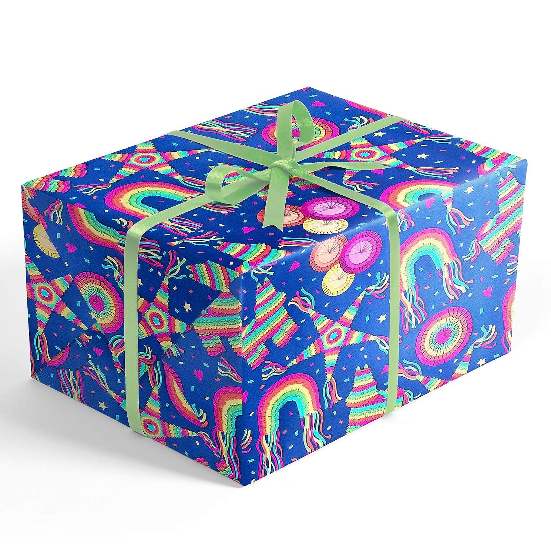 Piñata Fiesta Feliz Cumpleaños Rolled Wrapping Paper, 2 feet x 20 feet Premium Gift wrap with...