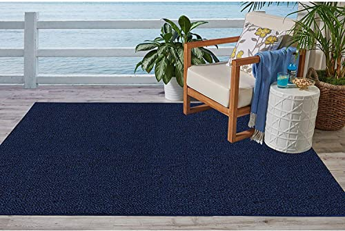 Ambiant Broadway Collection Pet Friendly Indoor Outdoor Area Rugs Navy
