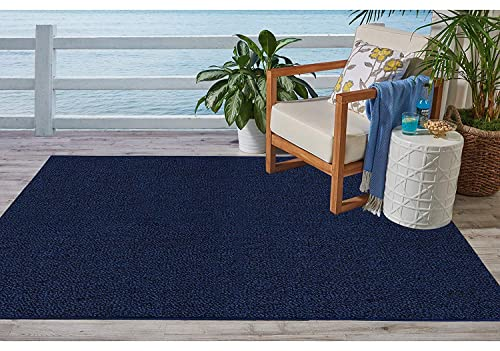 Ambiant Broadway Collection Pet Friendly Indoor Outdoor Area Rugs Navy – 3 x5