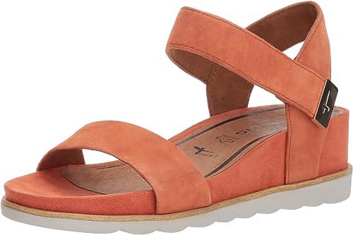 Details about TAMARIS sz eu 41 us 10 leather flat sandal shoes women Brownorange