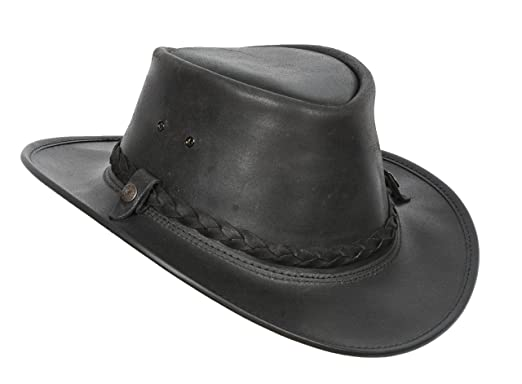 Mens Real Leather Bush Australian Cowboy Hats Black Brown at Amazon Men s  Clothing store  7a5671635db