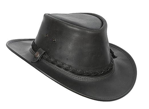 a62f6b89879c5 Mens Real Leather Bush Australian Cowboy Hats Black Brown at Amazon ...