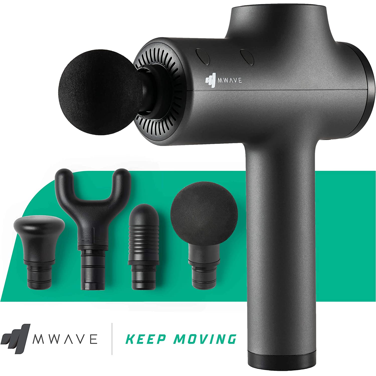 MWave Deep Tissue Percussion Massager Quiet and Compact Muscle Massage Gun for Athletes Deep Tissue Massage Gun with 4 hr Battery Life Deep Muscle Massager Gun