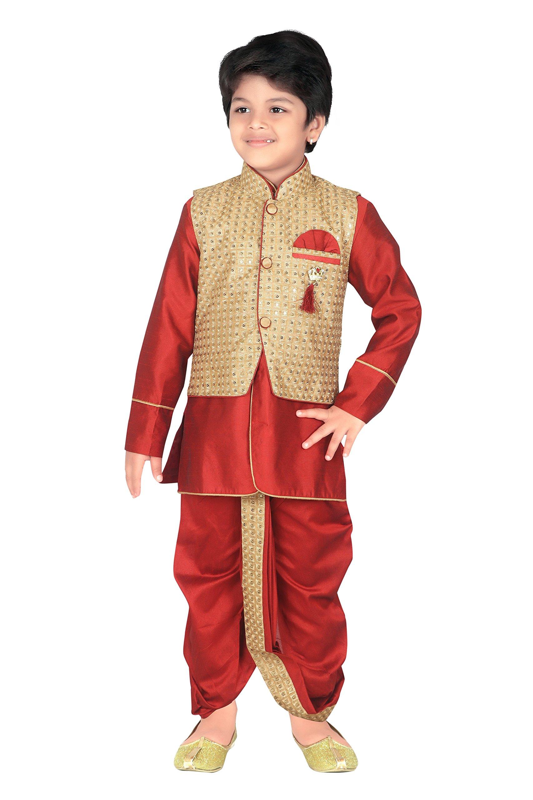 ahhaaaa Kids Indian Ethnic Waistcoat, Kurta, Breaches and Dhoti Pant Set for Baby Boys(5, Maroon)