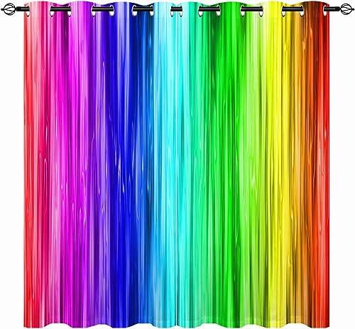 ANHOPE Rainbow Striped Curtains