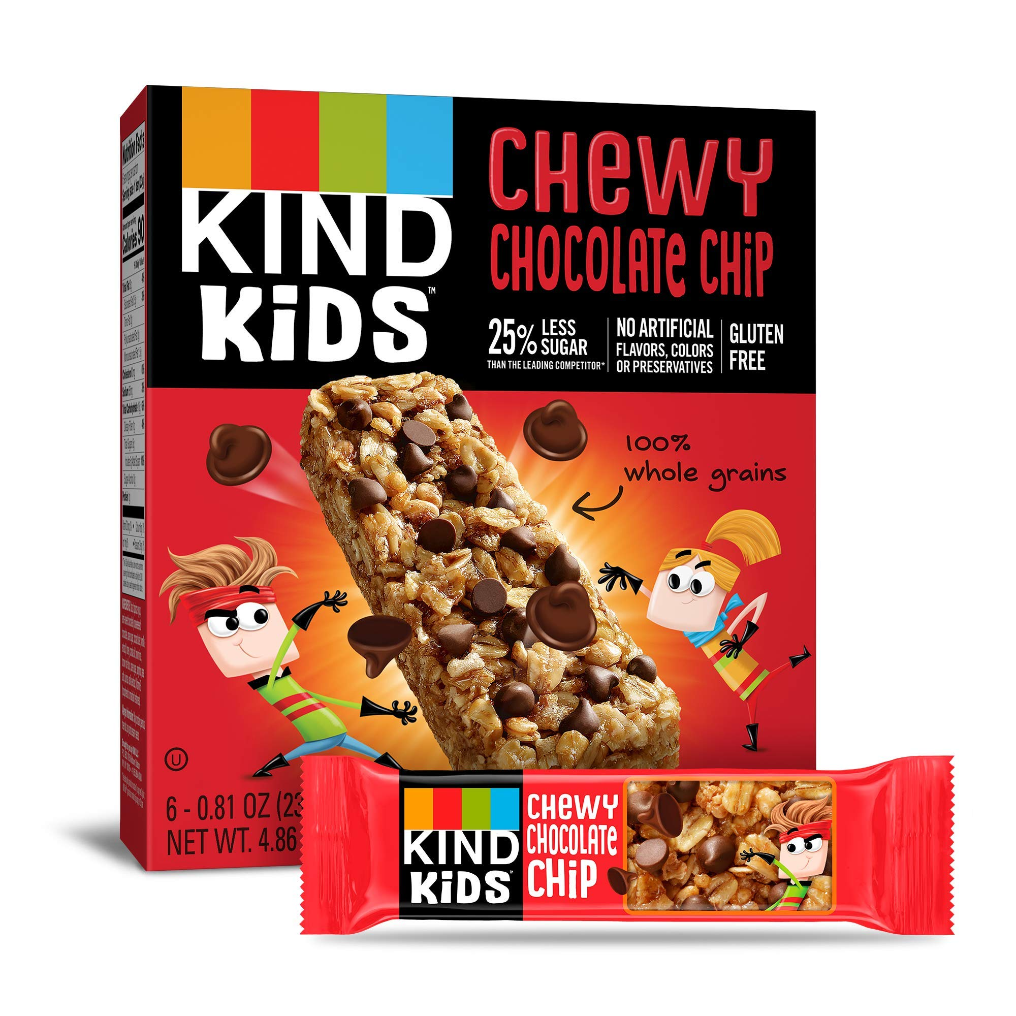 KIND Kids Granola Chewy Bar, Chocolate Chip, 6 Count, Pack of 8 by KIND