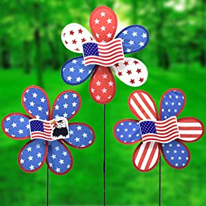 FENELY Kids Pinwheels Toys Whirligigs Wind Spinners for Garden Yard Decor USA Flag Windmill Decorative Garden Stakes Lawn OutdoorDecorations Whimsical Baby Gifts(Set of 3)