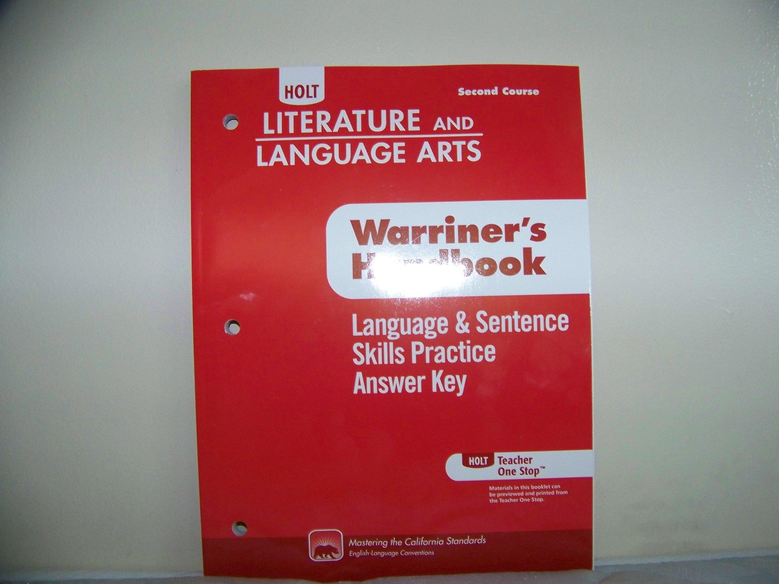 Language Sentence Skills Practice Answer Key Holt Literature And Language Arts Second Course Warriner S Handbook Holt Rinehart And Winston 9780554011196 Amazon Com Books [ 1875 x 2500 Pixel ]