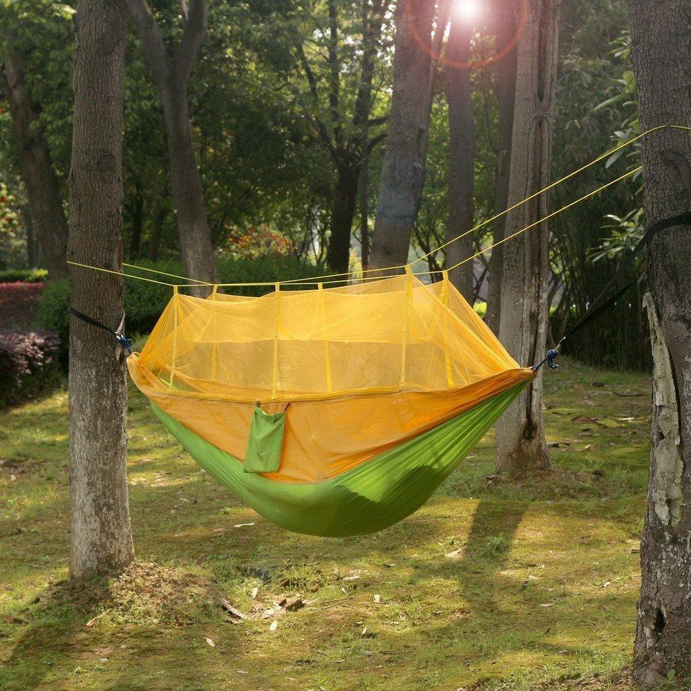 Camping Hängematte , TechCode® Moskitonetz Außen Hammock Reisebett Leichte Parachute Stoff Doppelhängematte für Innen, Camping, Wandern, Trekking, Hinterhof Camping Hängematte DE- PP-Hammock DE-PP-Hammock-BE