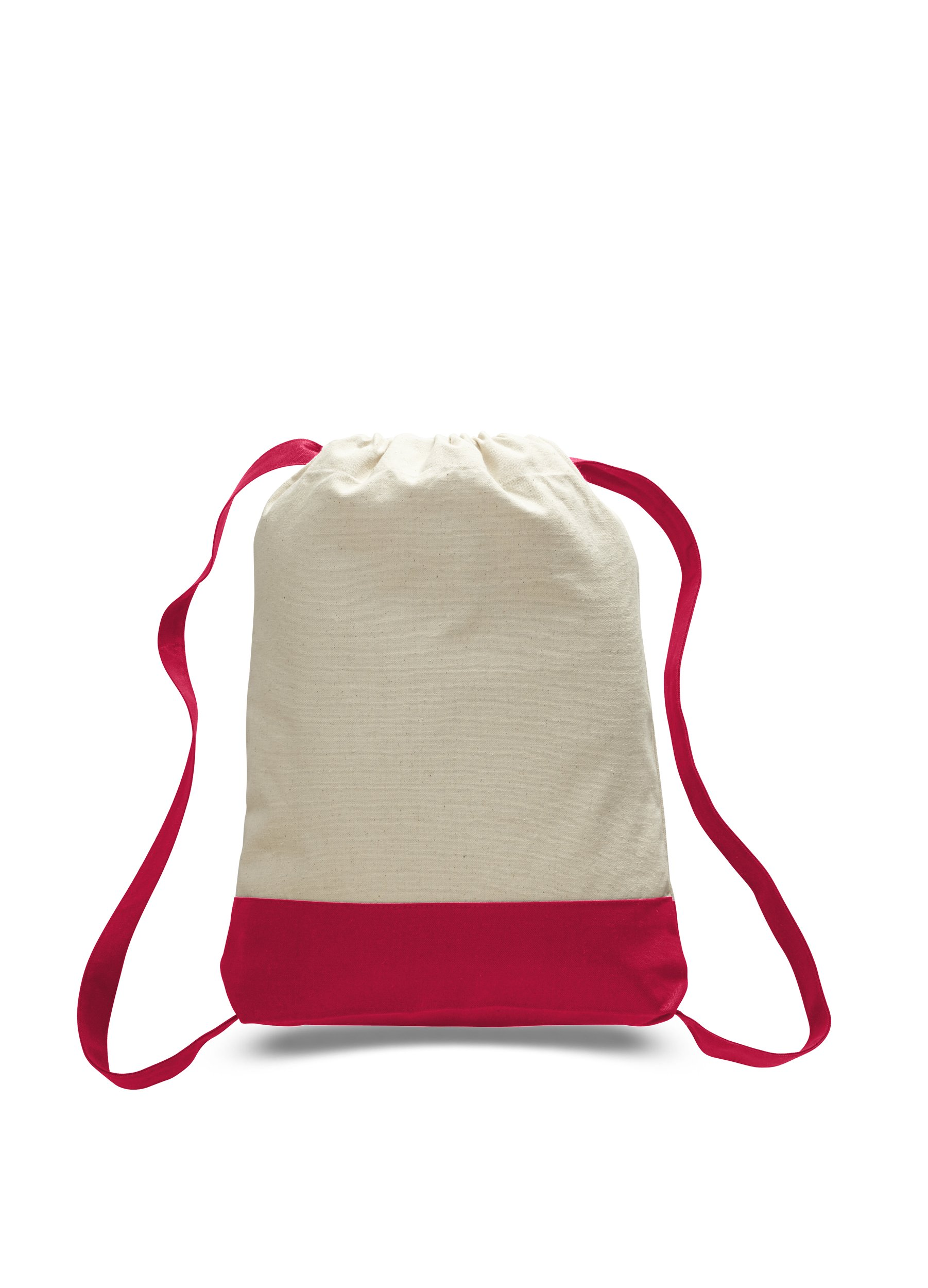 Pack of 12 - Durable Canvas Backpack Bags Two Tone Canvas Sport Promotional Backpacks Bulk - Arts and Crafts Backpacks Sack packs with Adjustable Straps Wholesale Drawstring Bags (Red)