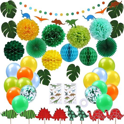 Aneco 32 Piezas Negro Blanco Oro Bola de Nido de Abeja Abanico de Papel Pompom Flores y Globos Decoraciones de Fiesta para la jubilación Fiesta Cumpleaños ...