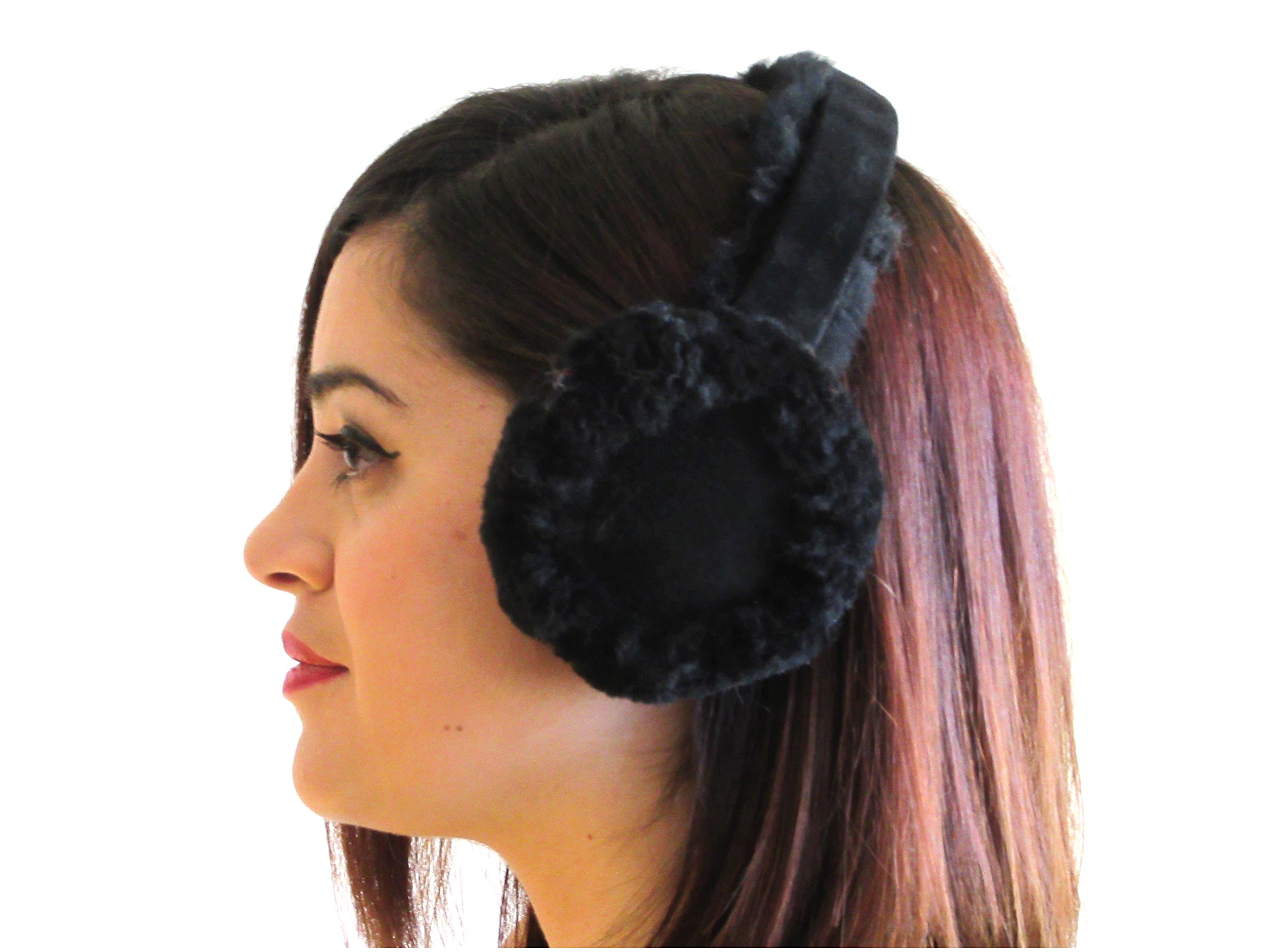 FursNewYork Black Shearling Sheepskin Ear Muffs with Shearling Suede Covered Band
