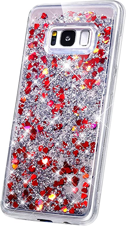 Herbests Compatible with Samsung Galaxy S8 Case Marble Design Bling Glitter Sparkle Women Girls Ultra Thin Glossy Soft TPU Case Soft Silicone Cover Protective Phone Case,Pink White