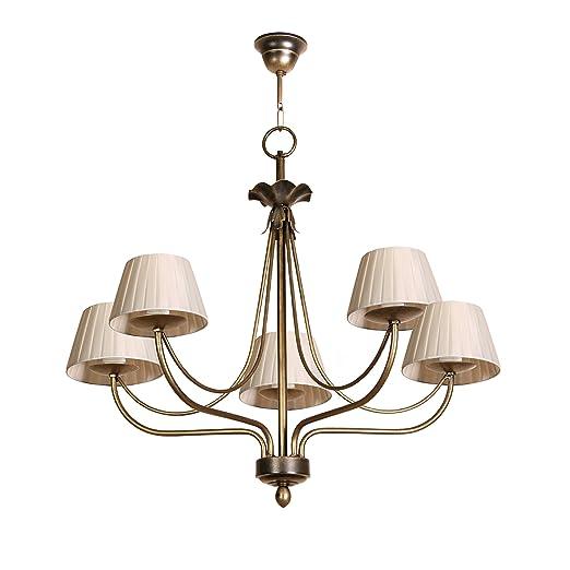 Lámpara de techo de 5 luces acabado cuero con pantallas de ...