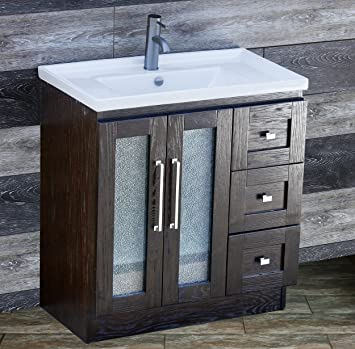ELIMAXu0027S 30u0026quot; Bathroom Vanity Solid Wood Cabinet Left Designed Ceramic  Top Sink Faucet B3018.