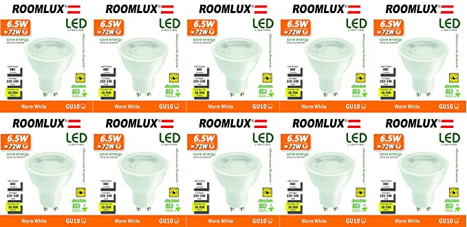10X Roomlux LED GU10 6.5W 480 lúmenes 3000K,bombilla led gu10 blanco calido bombilla gu10 ...