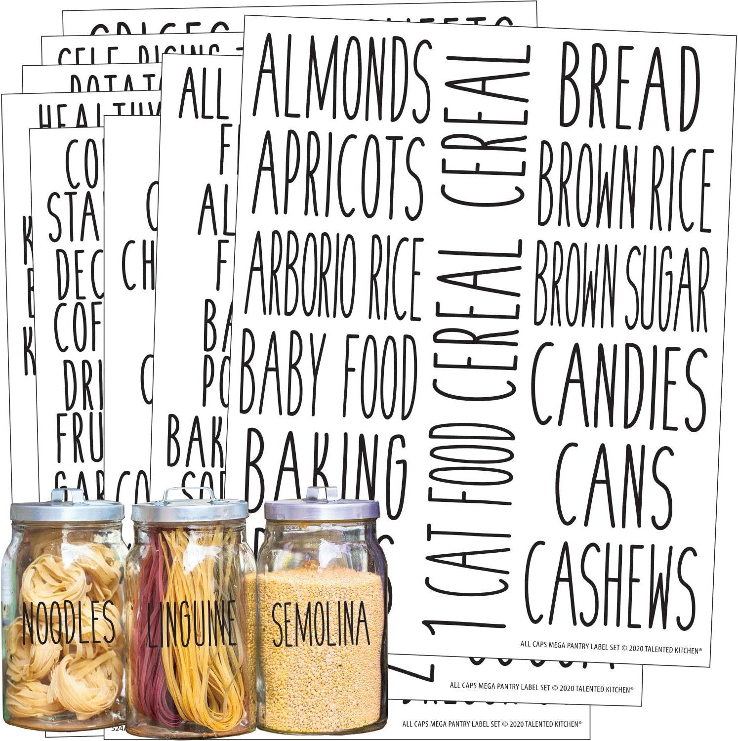 Talented Kitchen 136 All Caps Pantry Labels – 136 Main Ingredients – Food Pantry Label Sticker. Water Resistant Food Jar Labels. Jar Decals Pantry Organization Storage (Set of 136 – All Caps Pantry)