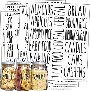 Talented Kitchen 136 All Caps Pantry Labels – 136 Main Ingredients – Food Pantry Label Sticker. Water Resistant Food Jar Labels. Jar Decals Pantry Organization Storage (Set of 136 – All Caps Pantry)